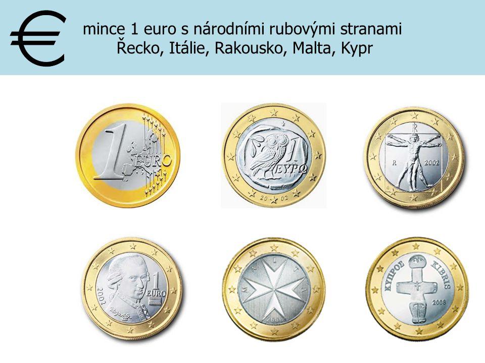 mince 1 euro s národními rubovými stranami Řecko, Itálie, Rakousko, Malta, Kypr