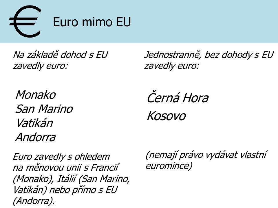 Euro mimo EU Černá Hora Kosovo Monako San Marino Vatikán Andorra