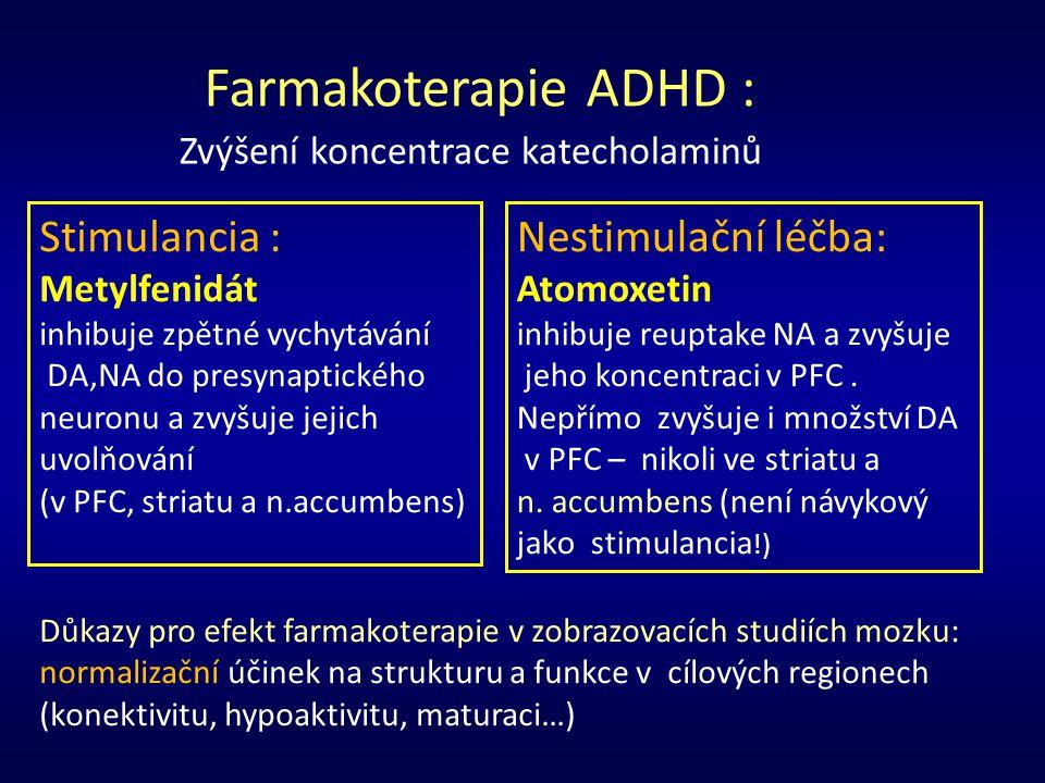 Farmakoterapie ADHD : Stimulancia : Nestimulační léčba: