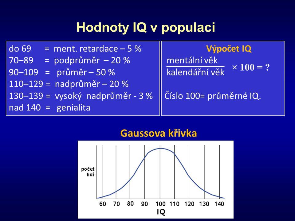 Hodnoty IQ v populaci Gaussova křivka do 69 = ment. retardace – 5 %