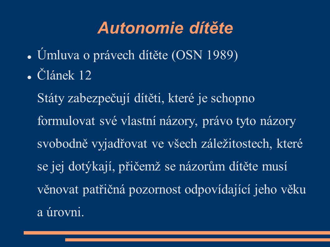 Autonomie dítěte Úmluva o právech dítěte (OSN 1989) Článek 12