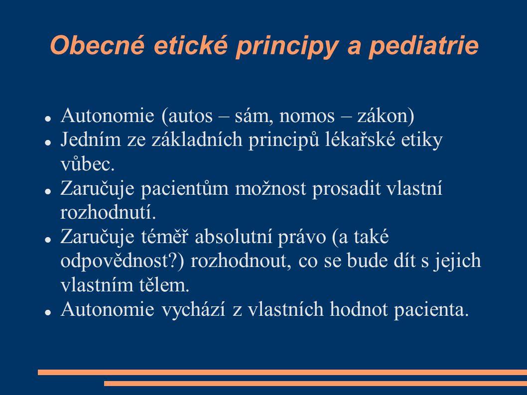 Obecné etické principy a pediatrie