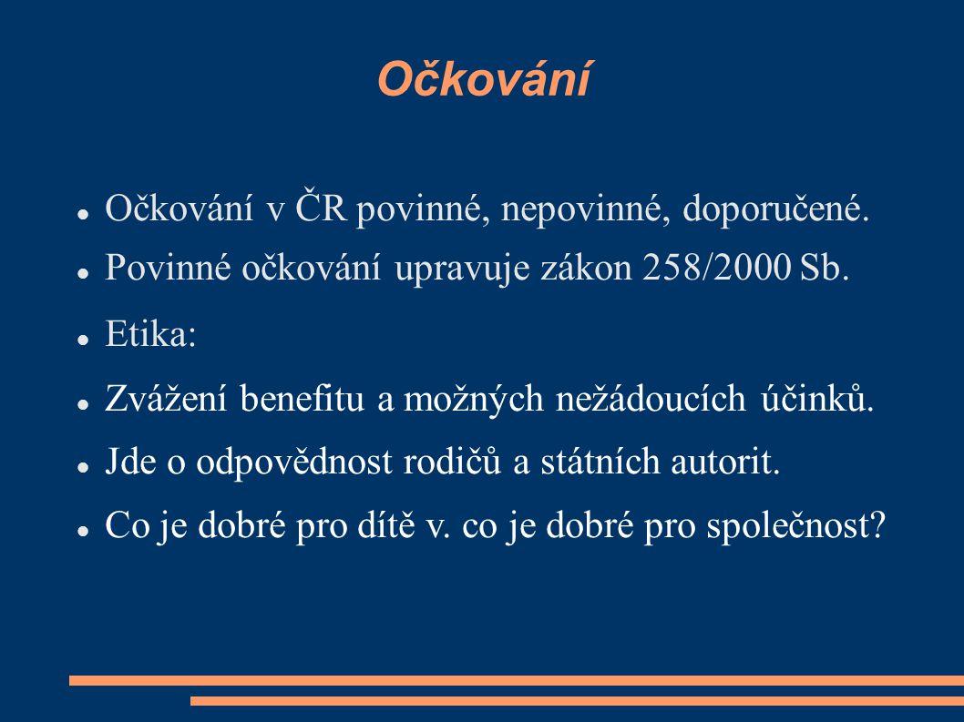 Očkování Očkování v ČR povinné, nepovinné, doporučené.