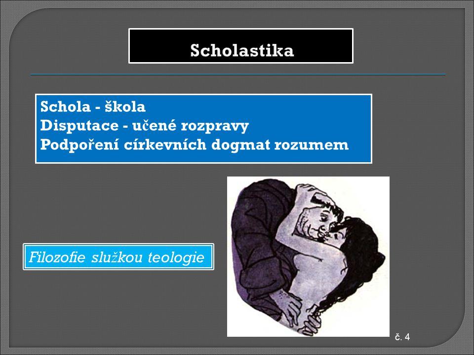 Scholastika Schola - škola Disputace - učené rozpravy Podpoření církevních dogmat rozumem Filozofie služkou teologie.