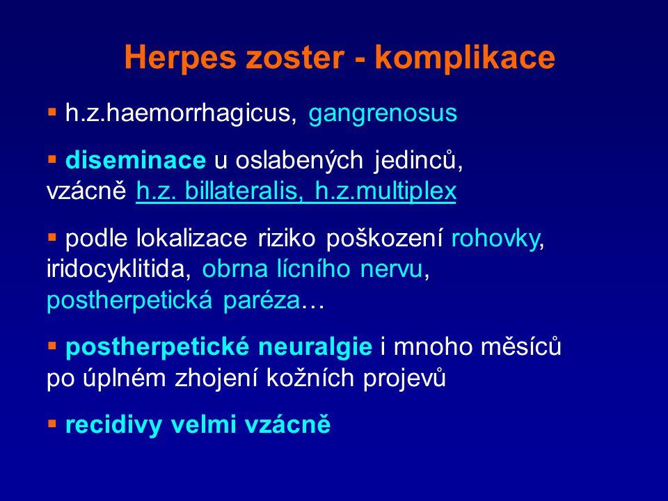 Herpes zoster - komplikace