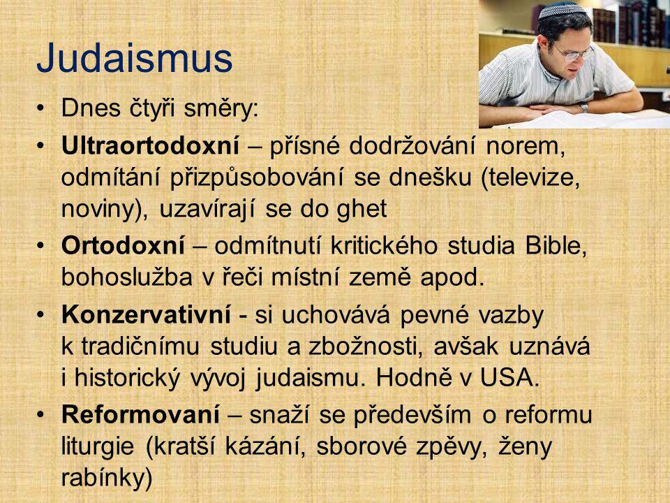 Judaismus Dnes čtyři směry: