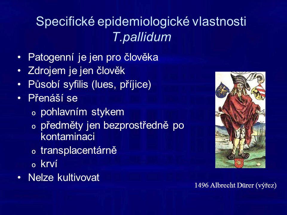 Specifické epidemiologické vlastnosti T.pallidum