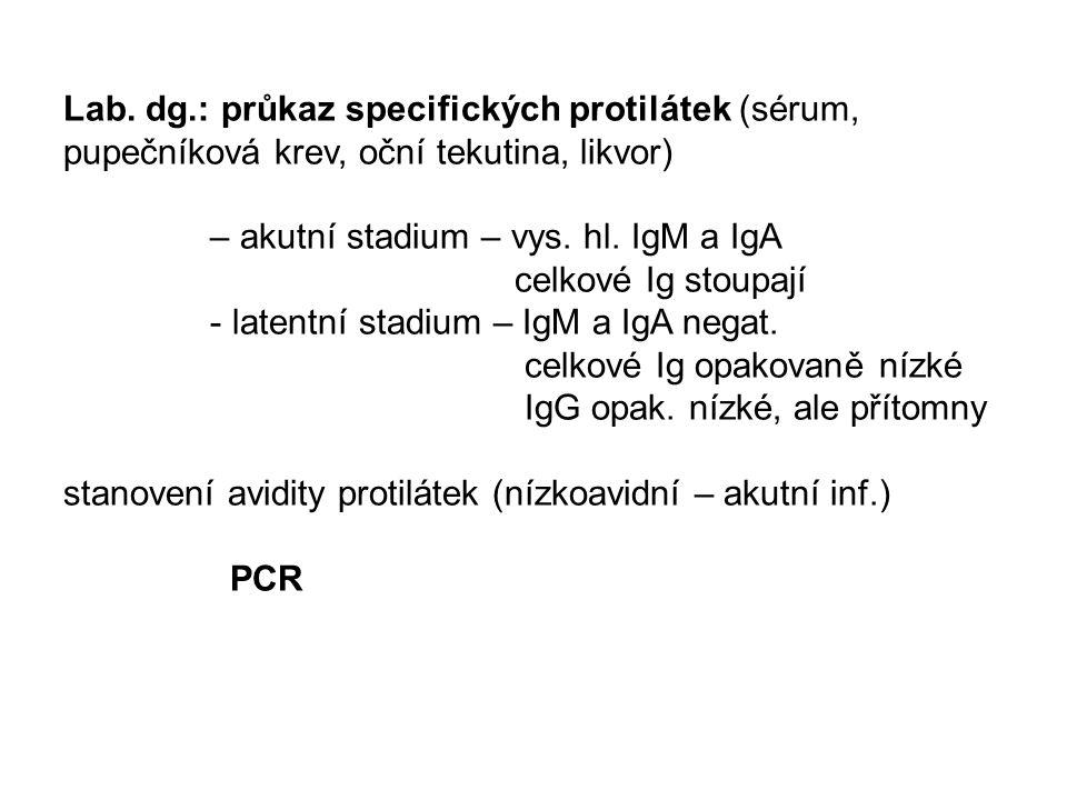Lab. dg.: průkaz specifických protilátek (sérum, pupečníková krev, oční tekutina, likvor)