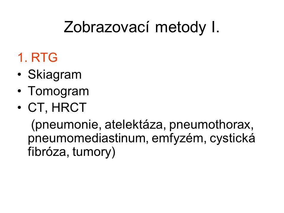 Zobrazovací metody I. 1. RTG Skiagram Tomogram CT, HRCT