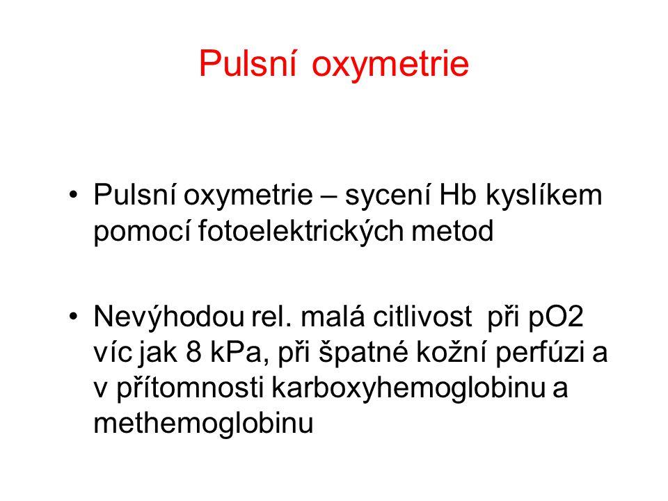 Pulsní oxymetrie Pulsní oxymetrie – sycení Hb kyslíkem pomocí fotoelektrických metod.