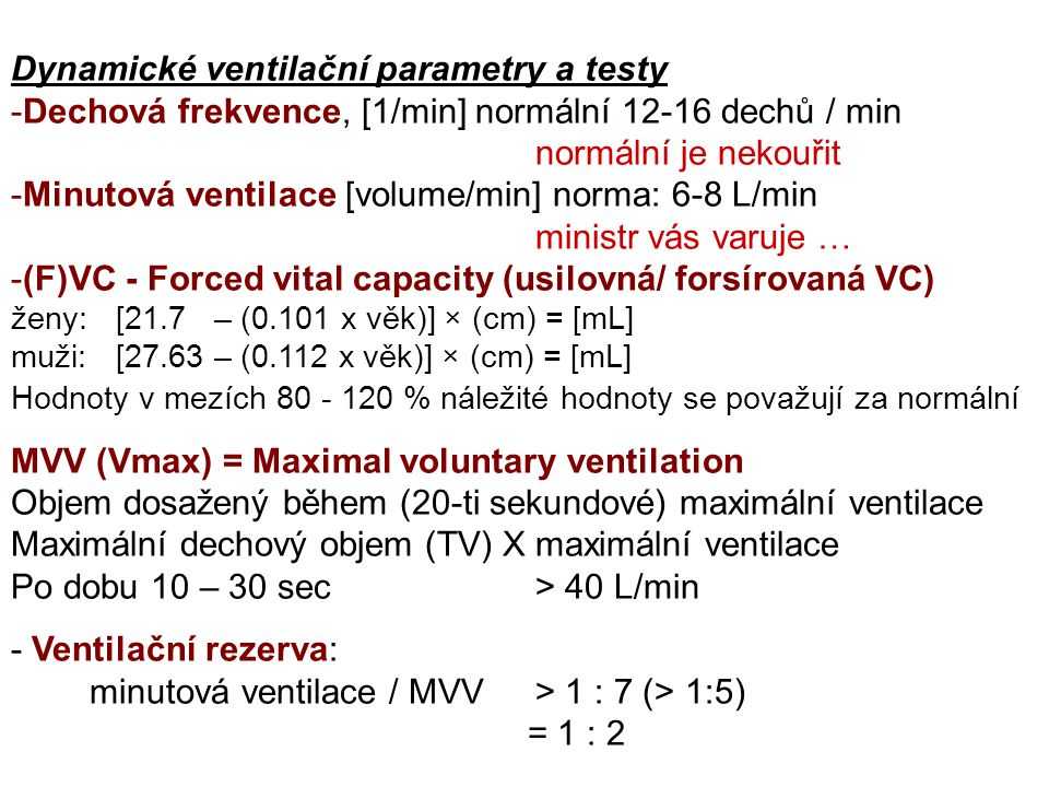 Dynamické ventilační parametry a testy