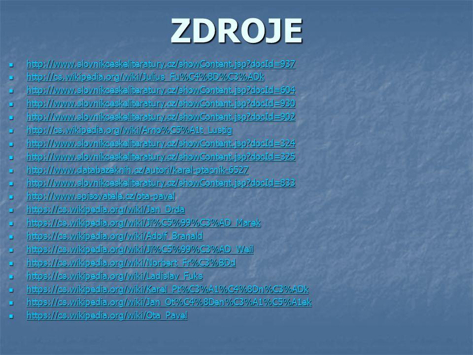 ZDROJE http://www.slovnikceskeliteratury.cz/showContent.jsp docId=937