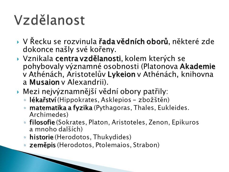 Vzdělanost V Řecku se rozvinula řada vědních oborů, některé zde dokonce našly své kořeny.