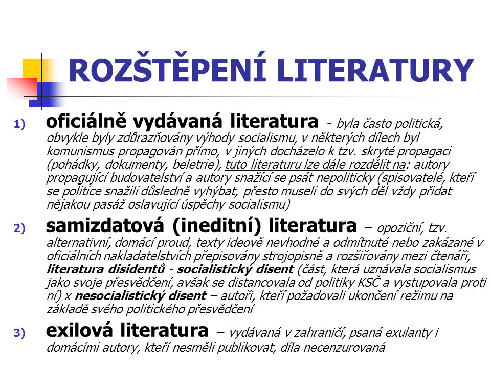 ROZŠTĚPENÍ LITERATURY
