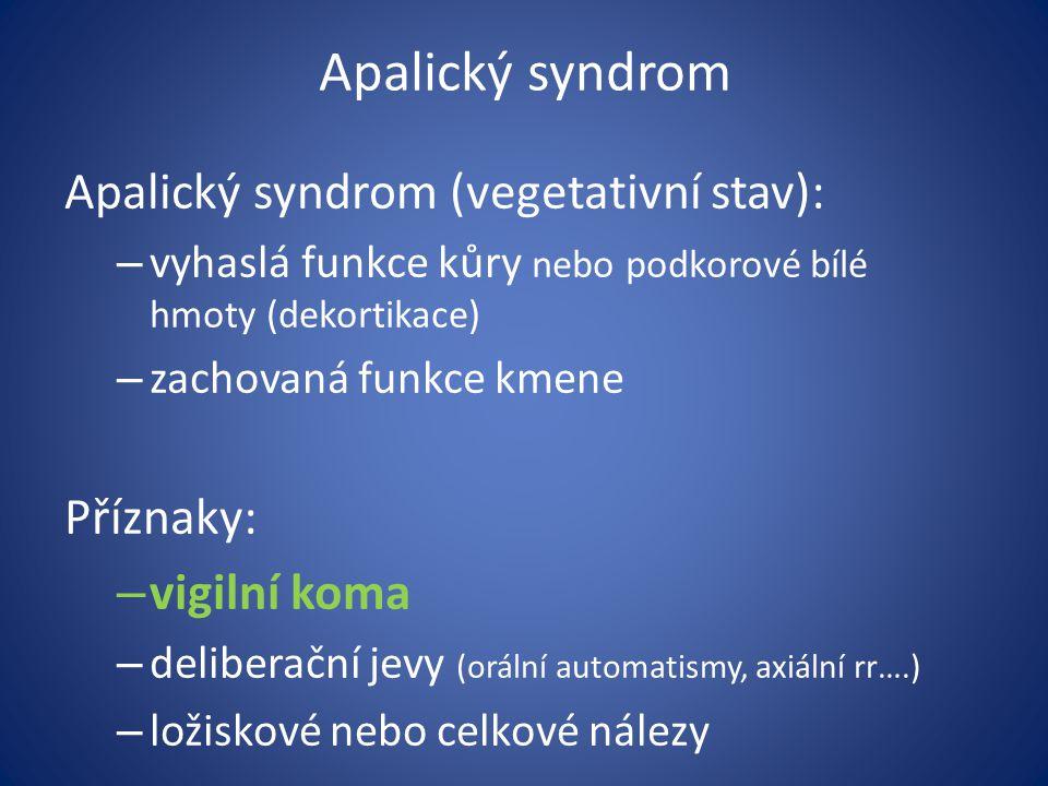 Apalický syndrom Apalický syndrom (vegetativní stav): Příznaky: