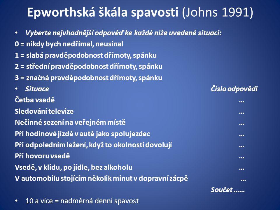 Epworthská škála spavosti (Johns 1991)