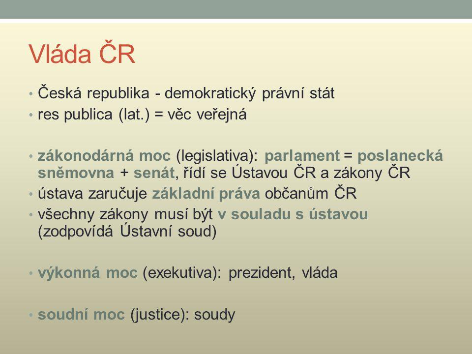 Vláda ČR Česká republika - demokratický právní stát