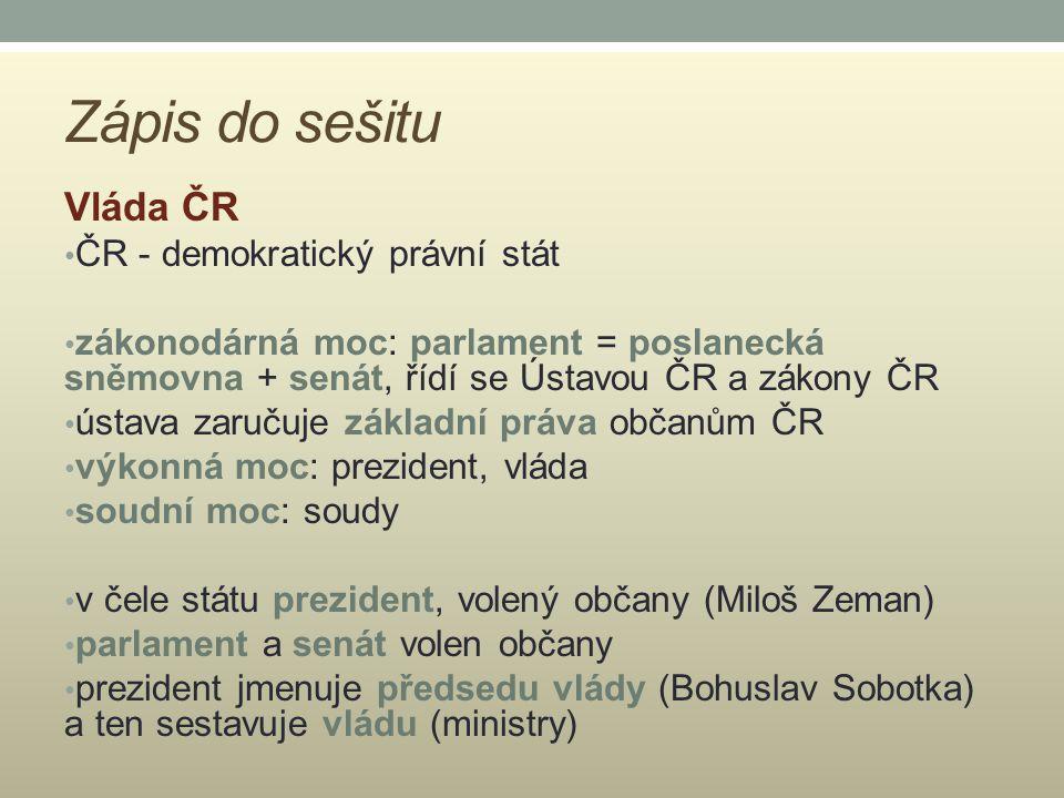 Zápis do sešitu Vláda ČR ČR - demokratický právní stát