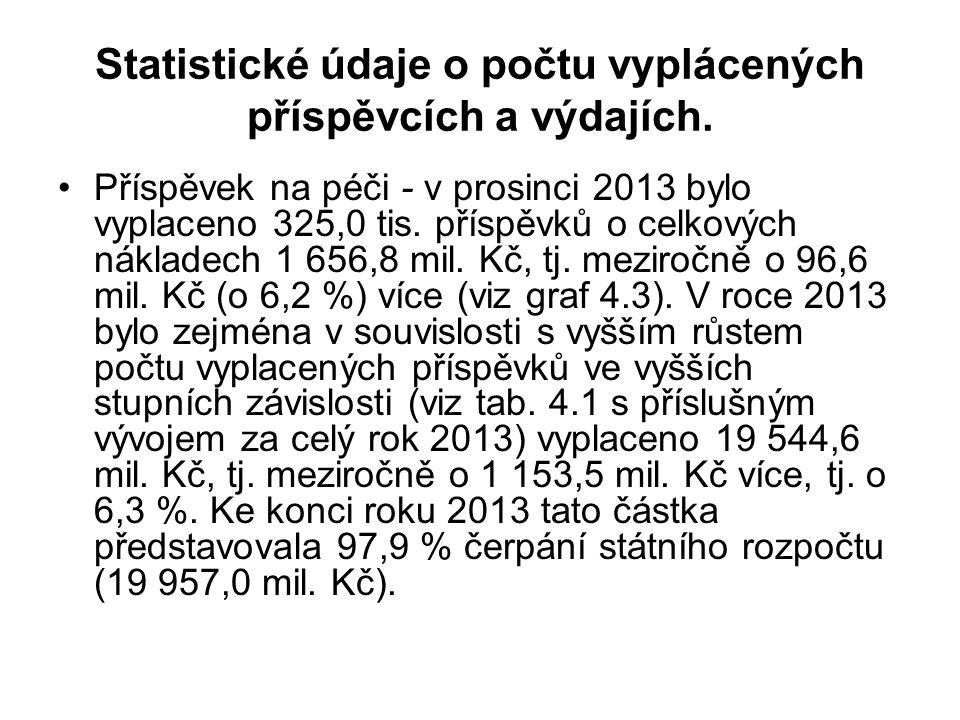 Statistické údaje o počtu vyplácených příspěvcích a výdajích.