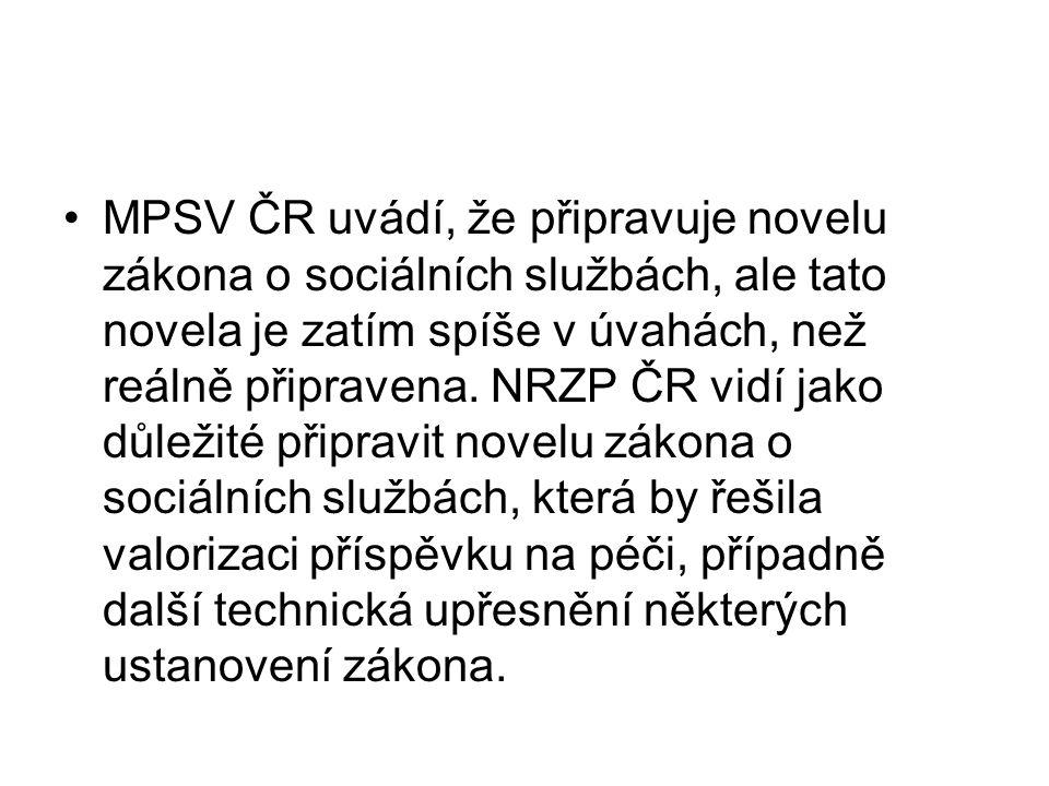 MPSV ČR uvádí, že připravuje novelu zákona o sociálních službách, ale tato novela je zatím spíše v úvahách, než reálně připravena.