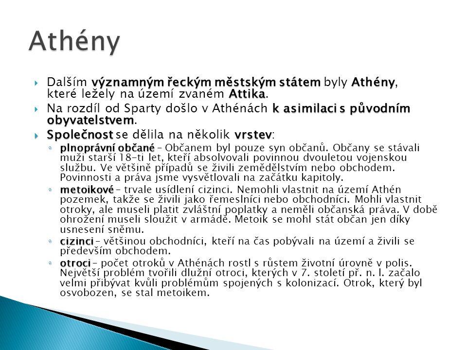 Athény Dalším významným řeckým městským státem byly Athény, které ležely na území zvaném Attika.
