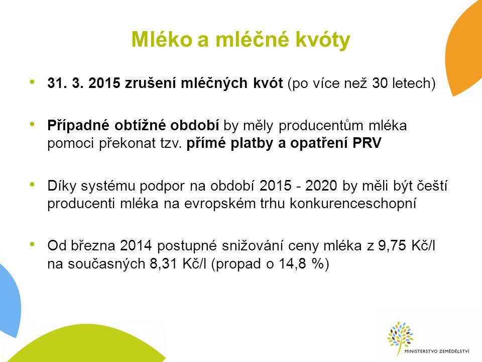 Mléko a mléčné kvóty 31. 3. 2015 zrušení mléčných kvót (po více než 30 letech)