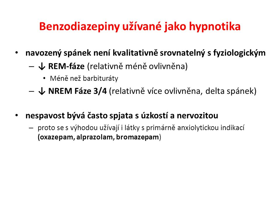Benzodiazepiny užívané jako hypnotika