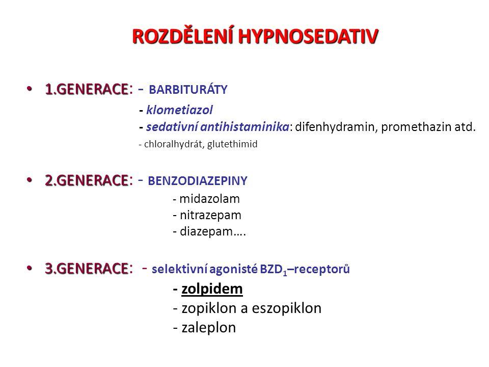 ROZDĚLENÍ HYPNOSEDATIV