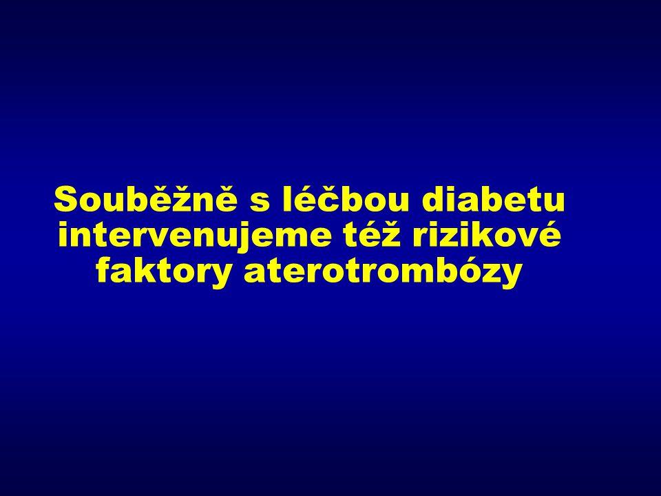 Souběžně s léčbou diabetu intervenujeme též rizikové faktory aterotrombózy