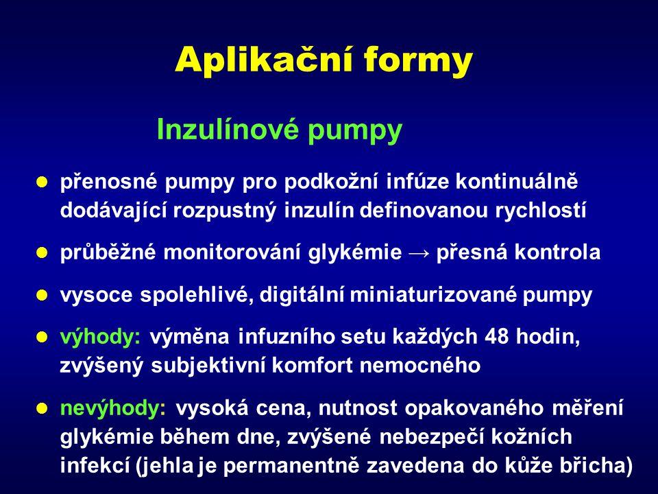 Aplikační formy Inzulínové pumpy