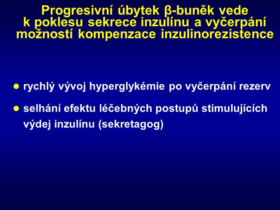 Progresivní úbytek β-buněk vede k poklesu sekrece inzulínu a vyčerpání možností kompenzace inzulinorezistence
