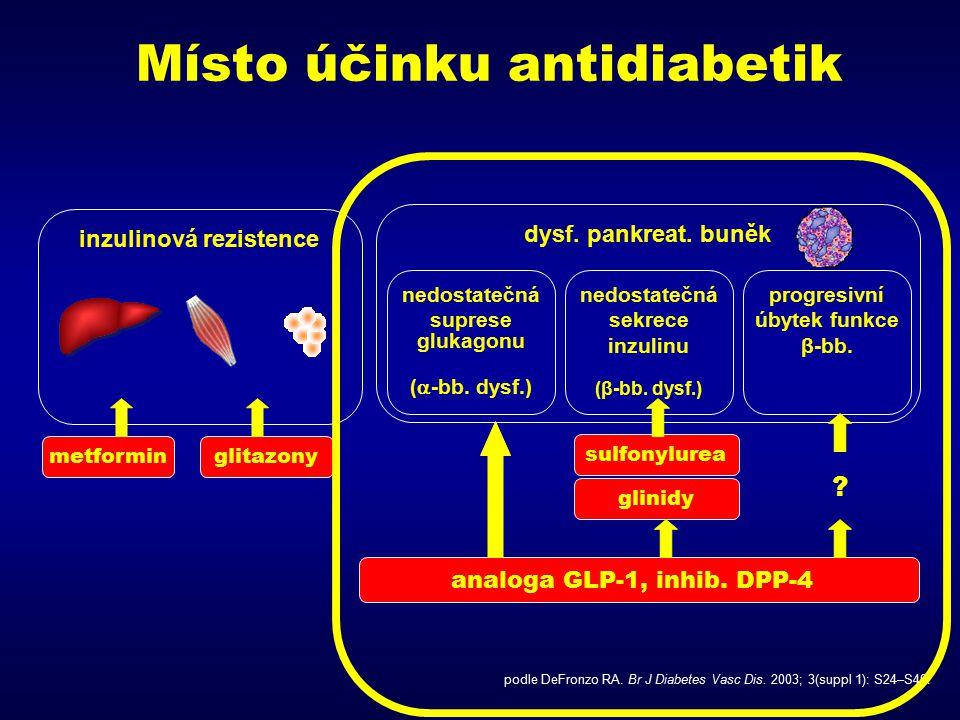 Místo účinku antidiabetik