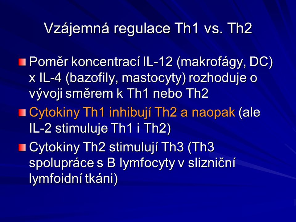 Vzájemná regulace Th1 vs. Th2
