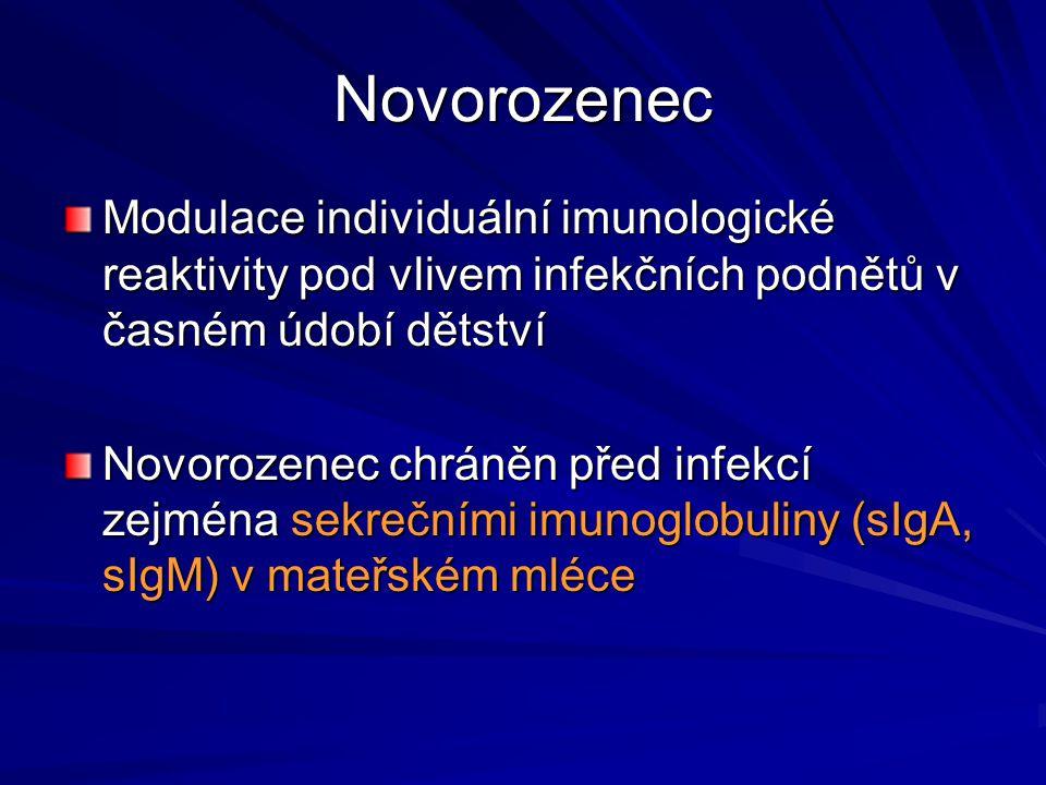 Novorozenec Modulace individuální imunologické reaktivity pod vlivem infekčních podnětů v časném údobí dětství.