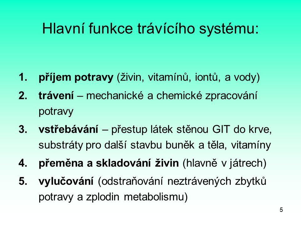 Hlavní funkce trávícího systému:
