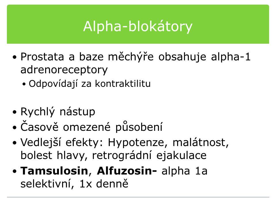 Alpha-blokátory Prostata a baze měchýře obsahuje alpha-1 adrenoreceptory. Odpovídají za kontraktilitu.