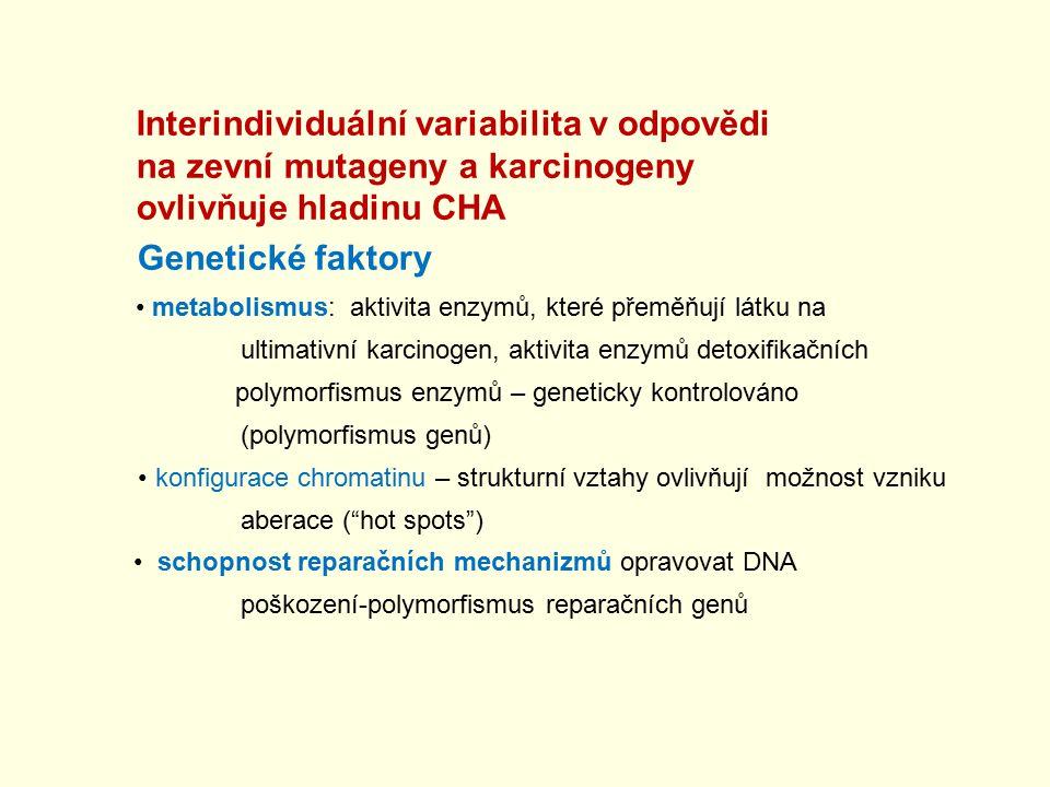 na zevní mutageny a karcinogeny ovlivňuje hladinu CHA