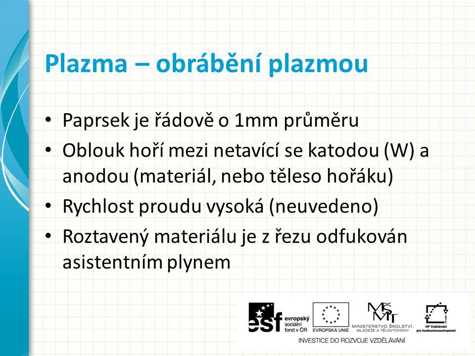 Plazma – obrábění plazmou