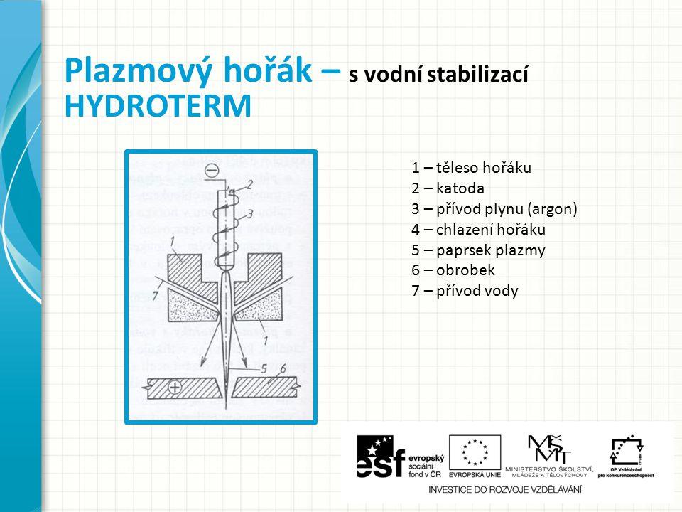 Plazmový hořák – s vodní stabilizací