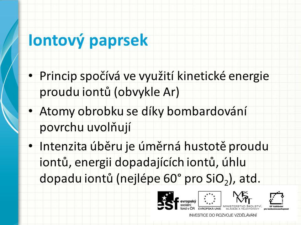 Iontový paprsek Princip spočívá ve využití kinetické energie proudu iontů (obvykle Ar) Atomy obrobku se díky bombardování povrchu uvolňují.