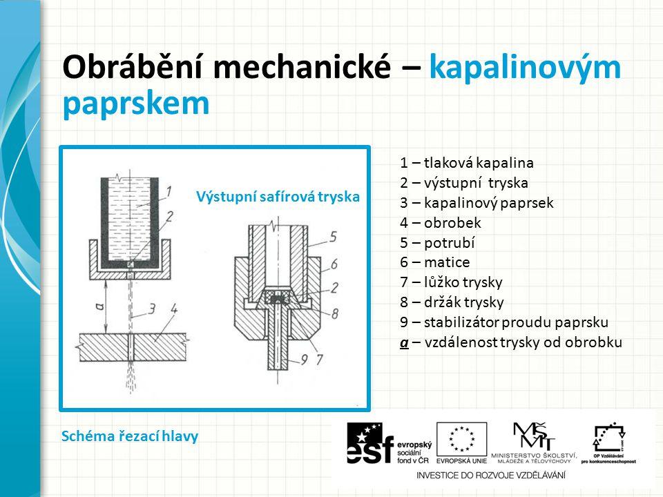 Obrábění mechanické – kapalinovým paprskem