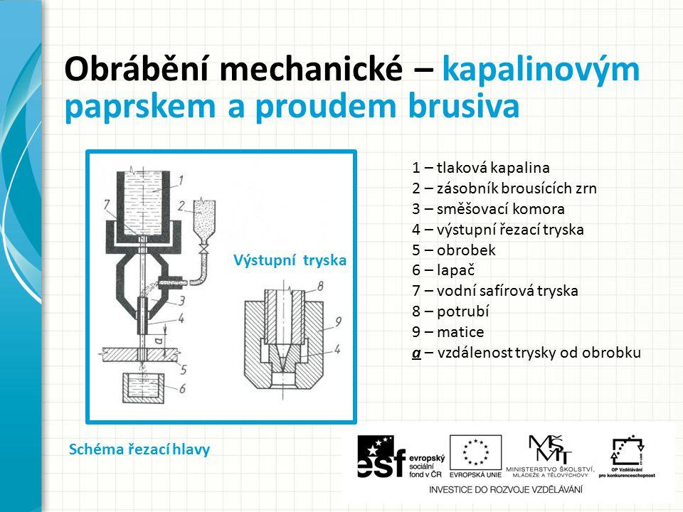 Obrábění mechanické – kapalinovým paprskem a proudem brusiva