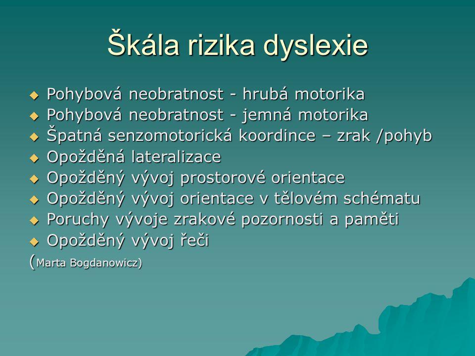 Škála rizika dyslexie Pohybová neobratnost - hrubá motorika