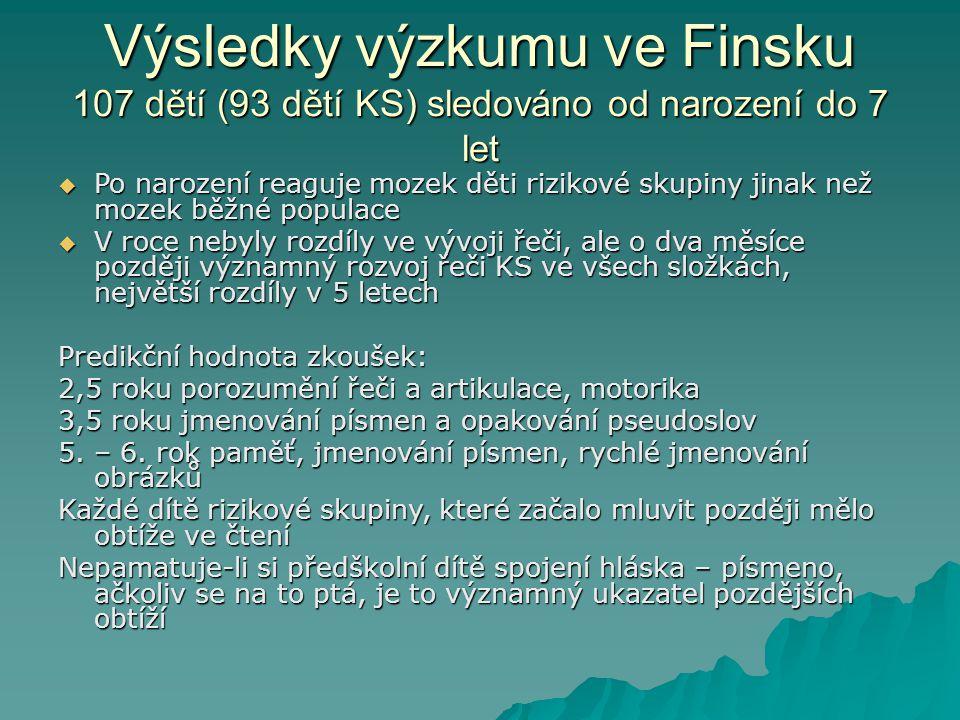 Výsledky výzkumu ve Finsku 107 dětí (93 dětí KS) sledováno od narození do 7 let