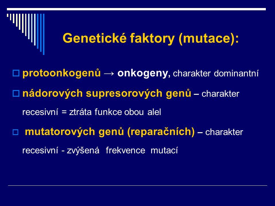 Genetické faktory (mutace):