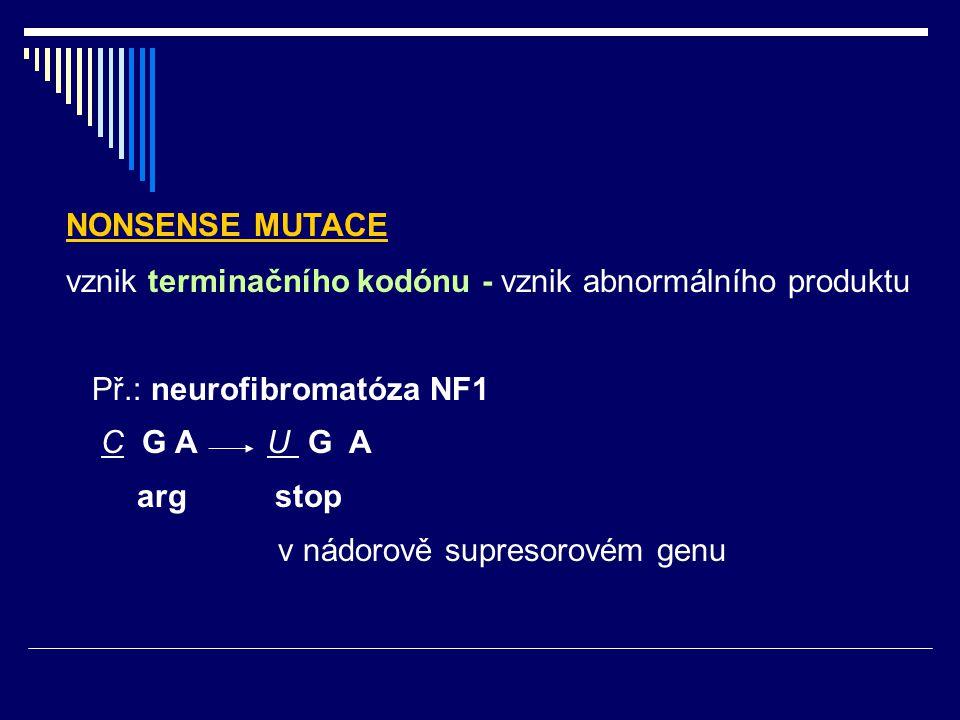 NONSENSE MUTACE vznik terminačního kodónu - vznik abnormálního produktu. Př.: neurofibromatóza NF1.