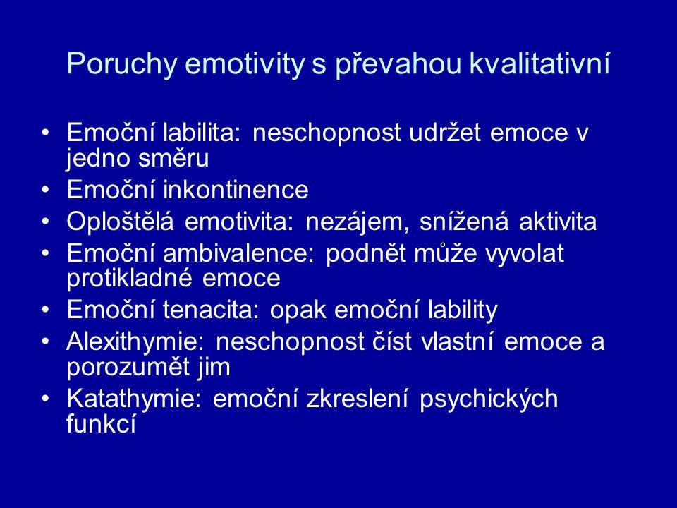 Poruchy emotivity s převahou kvalitativní