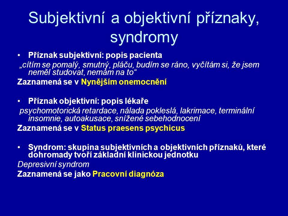 Subjektivní a objektivní příznaky, syndromy