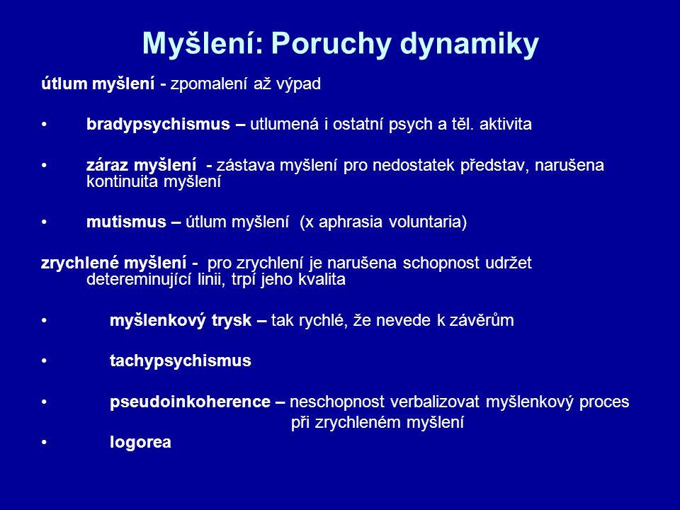 Myšlení: Poruchy dynamiky