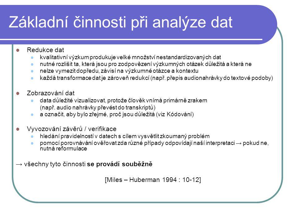 Základní činnosti při analýze dat